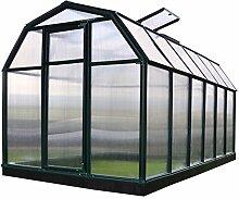 Rion Gewächshaus Gartenhaus Kunststoff SMART 37 + Fundament // 449x204x198 cm (LxBxH); Treibhaus & Tomatenhaus zur Aufzuch
