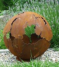 Riss Kugel 40cm Ø Edelrost Rost Gartendeko Garten Feuerschale Metall Feuerkugel