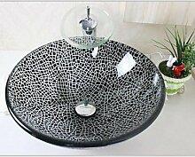 Risse in schwarz gehärtetem Glaswaschbecken mit Chrom Wasserfall Wasserhahn se