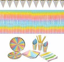 Ritte Geburtstag Partygeschirr Set, 64 Stück