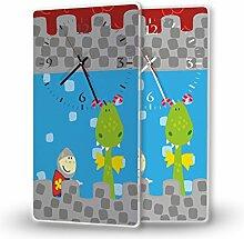 Ritter - Lautlose Wanduhr mit Fotodruck auf Polycarbonat | geräuschlos kein Ticken Fotouhr Bilderuhr Motivuhr Küchenuhr modern hochwertig Quarz | Variante:30 cm x 60 cm mit weißen Zeigern - GERÄUSCHLOS