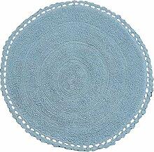 Ritz Teppich Badematte Bettvorleger rund Größe Durchmesser 60cm in weicher Baumwolle 100% 5Farben hellblau