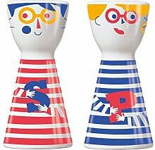 Ritzenhoff 1710063 Mr. Salt und Mrs. Pepper Salz- und Pfefferstreuer, Porzellan, mehrfarbig, 3.6 x 3.6 x 7.5 cm