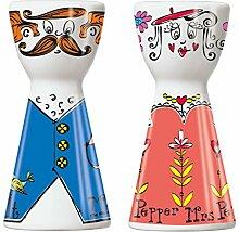Ritzenhoff 1710064 Mr. Salt und Mrs. Pepper Salz- und Pfefferstreuer, Porzellan, mehrfarbig, 3.6 x 3.6 x 7.5 cm