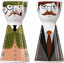 Ritzenhoff 1710065 Mr. Salt und Mrs. Pepper Salz- und Pfefferstreuer, Porzellan, mehrfarbig, 3.6 x 3.6 x 7.5 cm