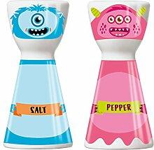 Ritzenhoff 1710066 Mr. Salt und Mrs. Pepper Salz- und Pfefferstreuer, Porzellan, mehrfarbig, 3.6 x 3.6 x 7.5 cm