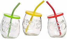 Ritzenhoff & Breker Cool Summer Becher mit Halm, 3er Set, Trinkbecher, Wasserglas, Glas, 430 ml, 140132