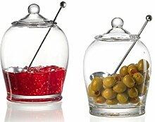 Ritzenhoff & Breker serviert Glas dose mit Löffel 15cm Toscana