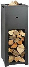 Rivanto® Feuersäule mit Holzlager, aus Metall,