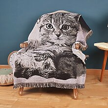 RIVAY Home Cartoon-Katze Baumwolldecken Sofa