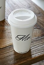 Riviera Maison To-Go Becher, Coffee-To-Go, Kaffeebecher - Mr. - Weiß - Ø10xH15cm