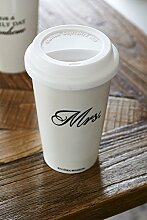 Riviera Maison - To-Go Becher, Coffee-To-Go, Kaffeebecher - Mrs. - Weiß - Ø10xH15cm