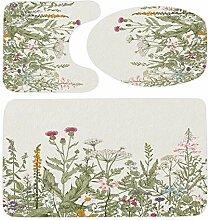 Riyidecor Badezimmerteppich-Set mit Wildblumen,