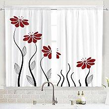 Riyidecor Küchengardine mit roten Blumen,