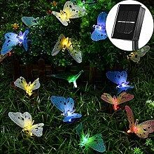 RJHY Solar Lichterkette, 12LED Schmetterling Solar