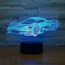 Rjjrr LED Kühle Sportwagen Form 3D Nachtlicht USB