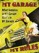 RKO What Happens In My Garage bleibt in My Garage My Garage lineale. PIN UP,40's,50's Jahre Stil mit Klassisches American Auto an gelb Hintergrund Metall/Stahl Wandschild - 15 x 20 cm