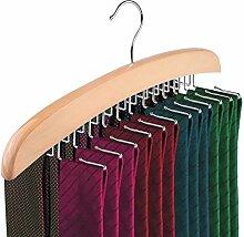 RMAN Hochwertiger Holz Krawattenhalter Krawattenbügel Holz mit 24 drehbaren Haken für Krawatten 40*2*14CM, Natur