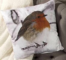 Robin - Photographic Cushion Cover by Yorkshire Linen