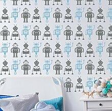 Roboter Tapete Repeat Wand Schablone Jungen Schlafzimmer Kinderzimmer