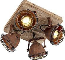 Robuster Strahler rost mit Holzaufhängung