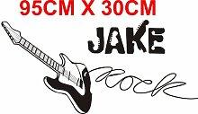 Rock Guitar personalisierbar Wandtattoo Vinyl Aufkleber Wandbild