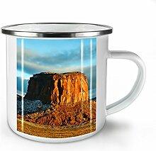 Rock Wüste Foto Natur Weiß Emaille-Becher 10 oz | Wellcoda