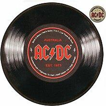 Rockbites - Runder Teppich AC/DC Schallplatte, D: 67 cm - Teppich für Vinyl Liebhaber