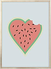 Rocks Design Wassermelone Herz Drucken–Wassermelone–Büro Decor–Mauer Kunst –, im Art–Galerie Art Wand–Flur Decor–Lounge Decor–skandinavischen Ar