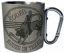 Rodeo in Texas Riding Cowboy Edelstahl Karabiner