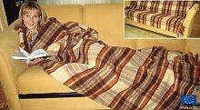 Rodnik Wolldecke natur mit Fransen * karierter Plaid * SOFT * Decke aus reiner Wolle * Kuscheldecke Sofadecke * Plaid Karo Muster aus Schurwolle braun beige 155 x 205 cm 1,3kg