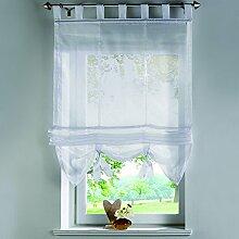 römischen Schatten europäischen Mode Krawatte Jalousien Voile Sheer Tab Top Fenster Vorhang mit Bead 1Stück, Polyester, Weiß, 100x155CM
