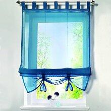 römischen Schatten europäischen Mode Krawatte Jalousien Voile Sheer Tab Top Fenster Vorhang mit Bead 1Stück, Polyester, Peacock Blue, 60x155CM
