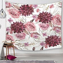 ROG000 Wandbehang Wandteppich Aquarell-Blumen-Rosa