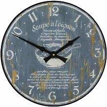 Roger Lascelles Retro-Wanduhr mit Motiv Rezept für Zwiebelsuppe, Holz