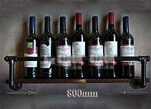 Rohr-Modellierung Weinregal Wand Bar Weinregal Weinflasche Lagerregal Vintage Industrie-Stil Wand Obere Regal , 80 Cm Long, One