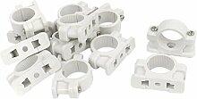 Rohr Schelle - TOOGOO(R) 25mm Durchmesser Wandmontage Rohr Clip Schelle Befestigungsset Weiss 12 Teile