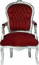 Rokoko Stuhl Barock Lounge Stuhl Konferenzstuhl rot silber