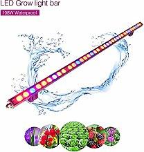 Roleadro Pflanzenlampe LED Streifen Bar für Gewächshaus Planze Wachsen Blume Growbox IP65 Wasserdicht 115cm (108w)