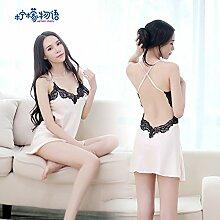 Roleeplay Super Sexy Spitze Nachthemd Schlinge Ablassen zurück heisse Leidenschaft sexy Unterwäsche Seidenpyjama Bekleidung Heimtextilien ultra kurzen Sm, F