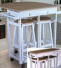 Rollbare Küchenbar mit abklappbarer Tischplatte und 2 Hockern