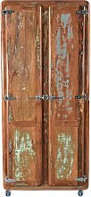 Rollbarer Garderobenschrank aus Massivholz Shabby