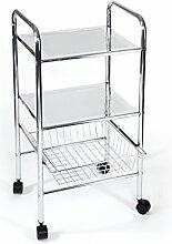Rollbares Badregal Küchenregal Badtrolley Küchenrollwagen Schubladenwagen Rollcontainer aus Metall Chrom - mit Gemüsekorb Drahtkorb Schublade