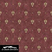 Rolle-Tapete Rot Bordeaux mit Lilie Damast Gold auf Boden roh mattglänzend. Eleganz 3078