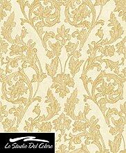 Rolle von Tapete Gold glänzend mit Ranken klassischen A Relief Gold auf Boden rau Effekt Putz roh vergoldet. Eleganz 3063