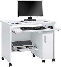 Rollen Computertisch mit Tastaturauszug Weiß