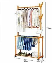 Rollende Kleiderbügel aus Bambus,Wäscheständer