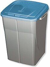 ROLLER Mülleimer ECOBIN - silber - blau - 45 Liter