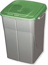 ROLLER Mülleimer ECOBIN - silber - grün - 45 Liter