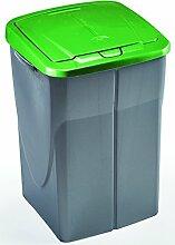 Roller Mülleimer ECOBIN - Silber - grün - 45